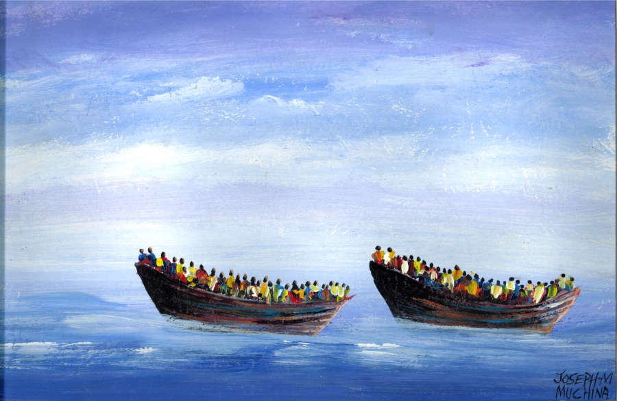 "Life and Death Voyage. 15""W x 12""H. Acrylic Paint on Canvas Paper. Joseph Muchina Mwangi (2015)"