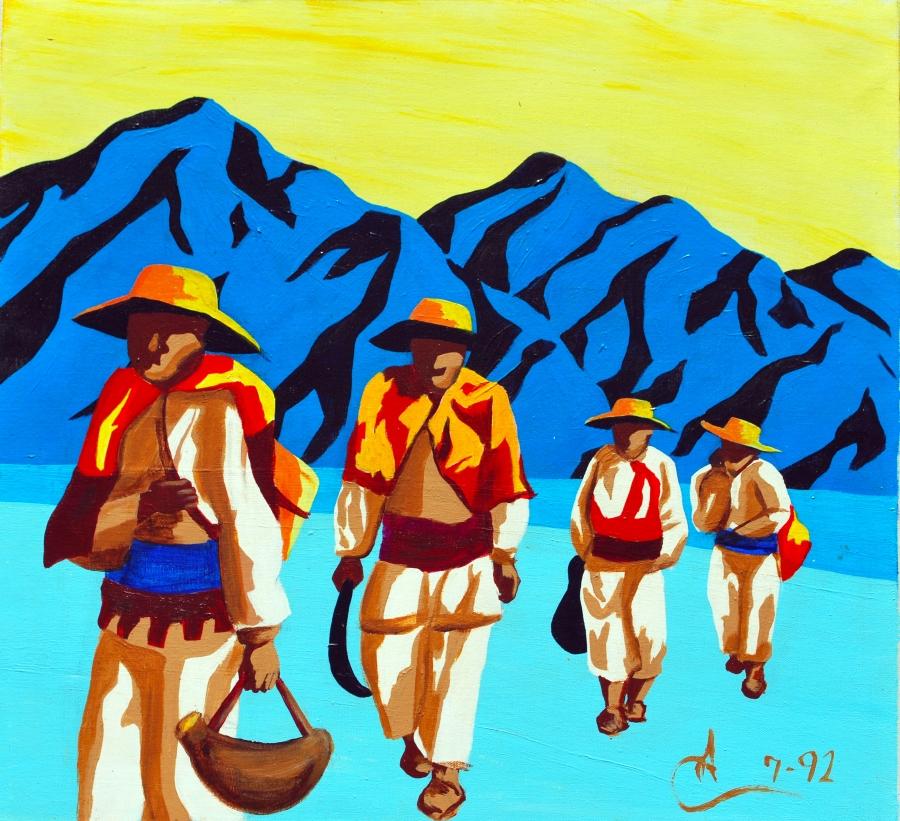 "Huichol Odyssey. 24""W x 22""H. Acrylic on Canvas. Arturo Cambron (1992)"