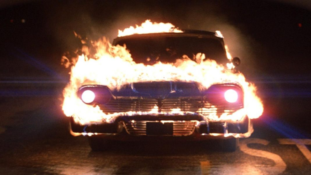 Christine - 1983, John CarpenterUnpopular nerd Arnie Cunningham (Keith Gordon) buys a 1958 Plymouth Fury, which he names Christine. Arnie develops an unhealthy obsession with the car, to the alarm of his jock friend, Dennis Guilder (John Stockwell). After bully Buddy Repperton (William Ostrander) defaces Christine, the auto restores itself to perfect condition and begins killing off Buddy and his friends. Determined to stop the deaths, Dennis and Arnie's girlfriend, Leigh Cabot (Alexandra Paul), decide to destroy Christine.