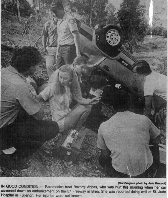 Brenda Krassie Clevenger, Class of 1968, being a Good Samaritan and aiding at a traffic accident on the 57 Freeway... VHHS Spirit all the way...