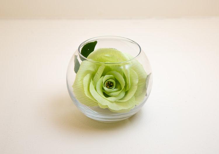 Flower Vase Green Rose Joy With Paper