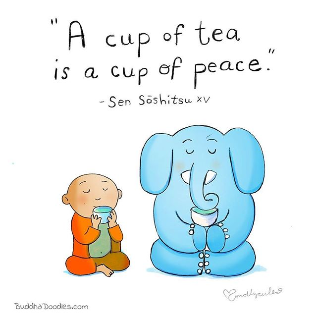 I'm having a cup of peace right now in my garden! Thanks @buddhadoodles . . . #tea #peace #garden