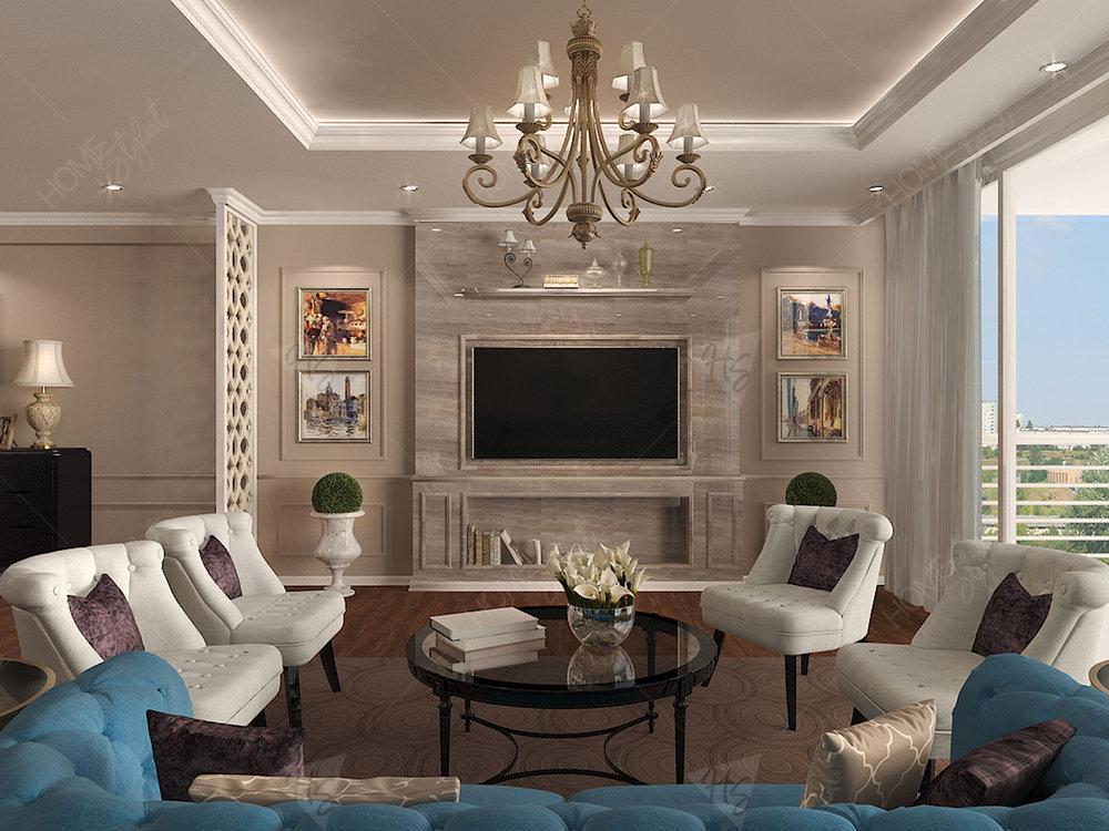 Khu vực phòng khách của căn hộ với cách bố trí đồ nội cao cấp, sang trọng.