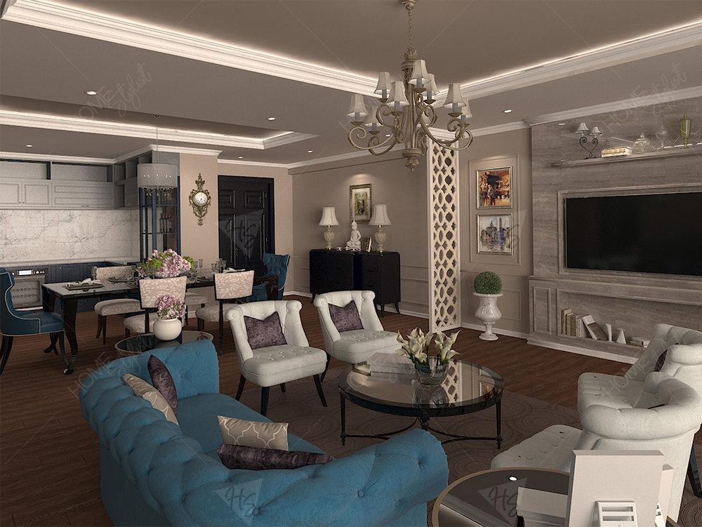 Gam mầu trung tính, kết hợp màu sắc hài hòa giữa trần, sàn tường ấn tượng.