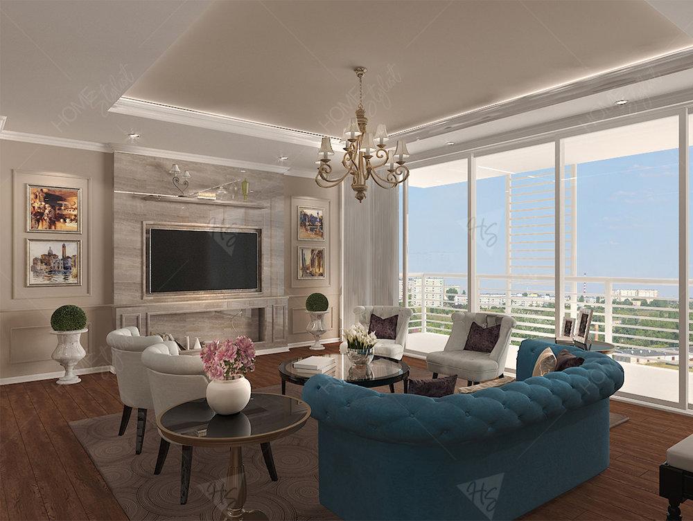 Sử dụng nội thất bàn ghế, sofa, đèn, tranh trang trí càng làm căn hộ sang trọng và đầy đủ tiện nghi hơn.