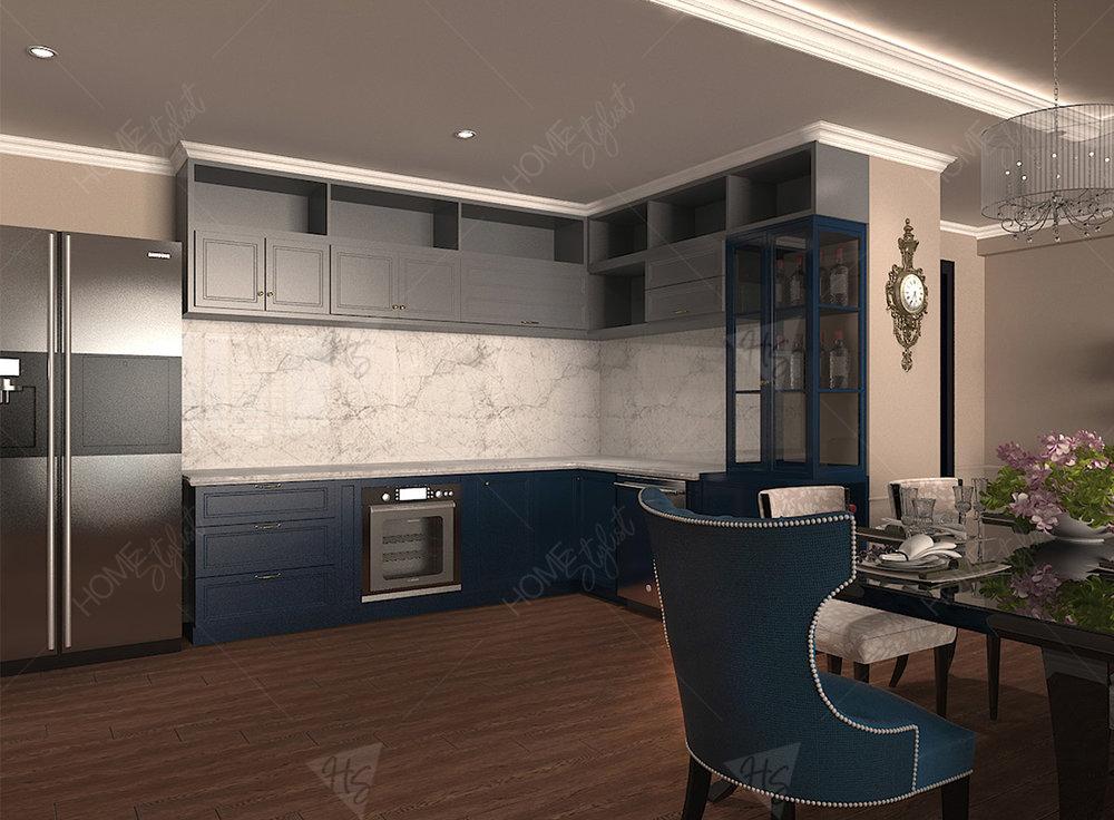Khu vực bếp với tủ bếp gỗ màu trung tính mang lại sự tiện nghi ngăn nắp cho căn hộ.