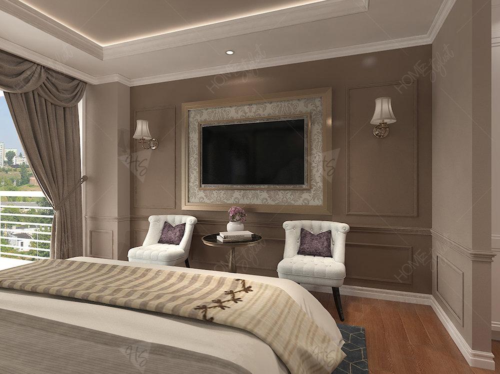 Khu vực phòng ngủ Master được trang trí tại căn hộ cao cấp