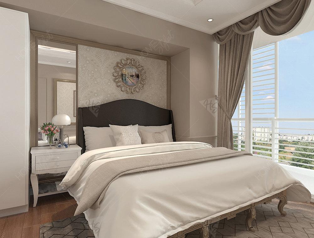 Phòng ngủ riêng nhưng vẫn mang phong cách cổ điển cao cấp tổng thể của căn hộ.