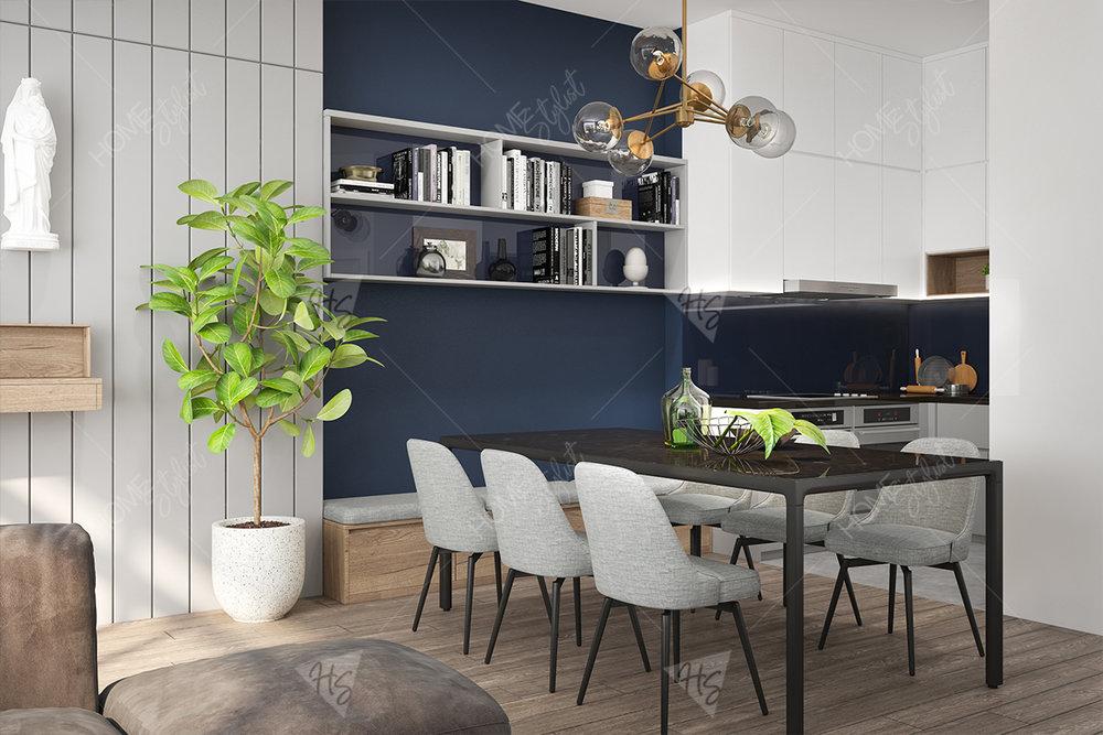 Căn hộ sử dụng nước sơn màu trắng làm không gian thêm rộng rãi hơn.
