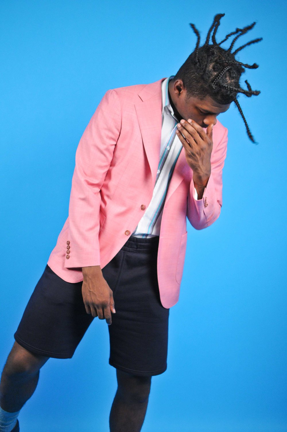 Pink Sports Jacket by Ayehommes  Stripped shirt by Awoke Vintage  shorts American Apparel