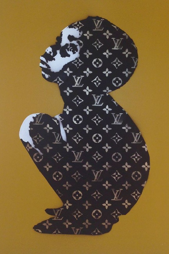 Beejoir, LV Child, Mustard Yellow Canvas, Acrylic/Spraypaint Stencil on Canvas, Unique, Signed, 30 x 20 inches, 2006