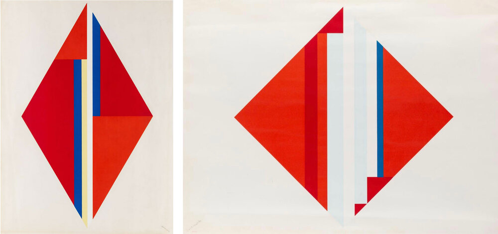 Ilya Bolotowsky - Geometric Composition with Red Diamond, I and II