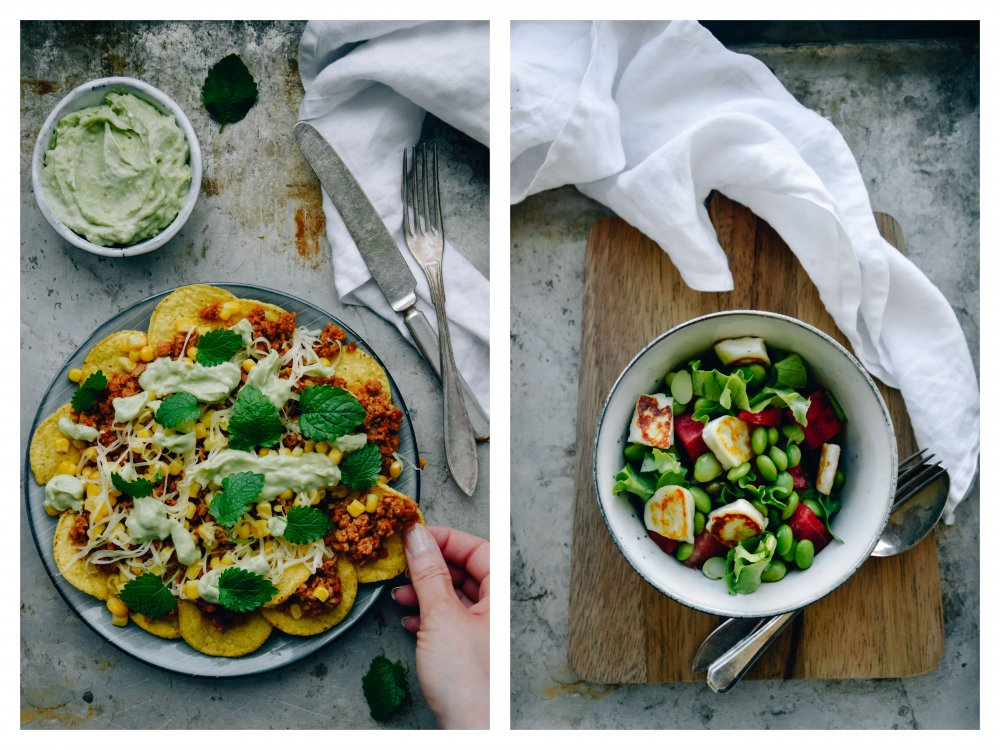 And this is what we ate. Vegetarian nachos platter and halloumi/watermelon salad. Recipes coming soon.