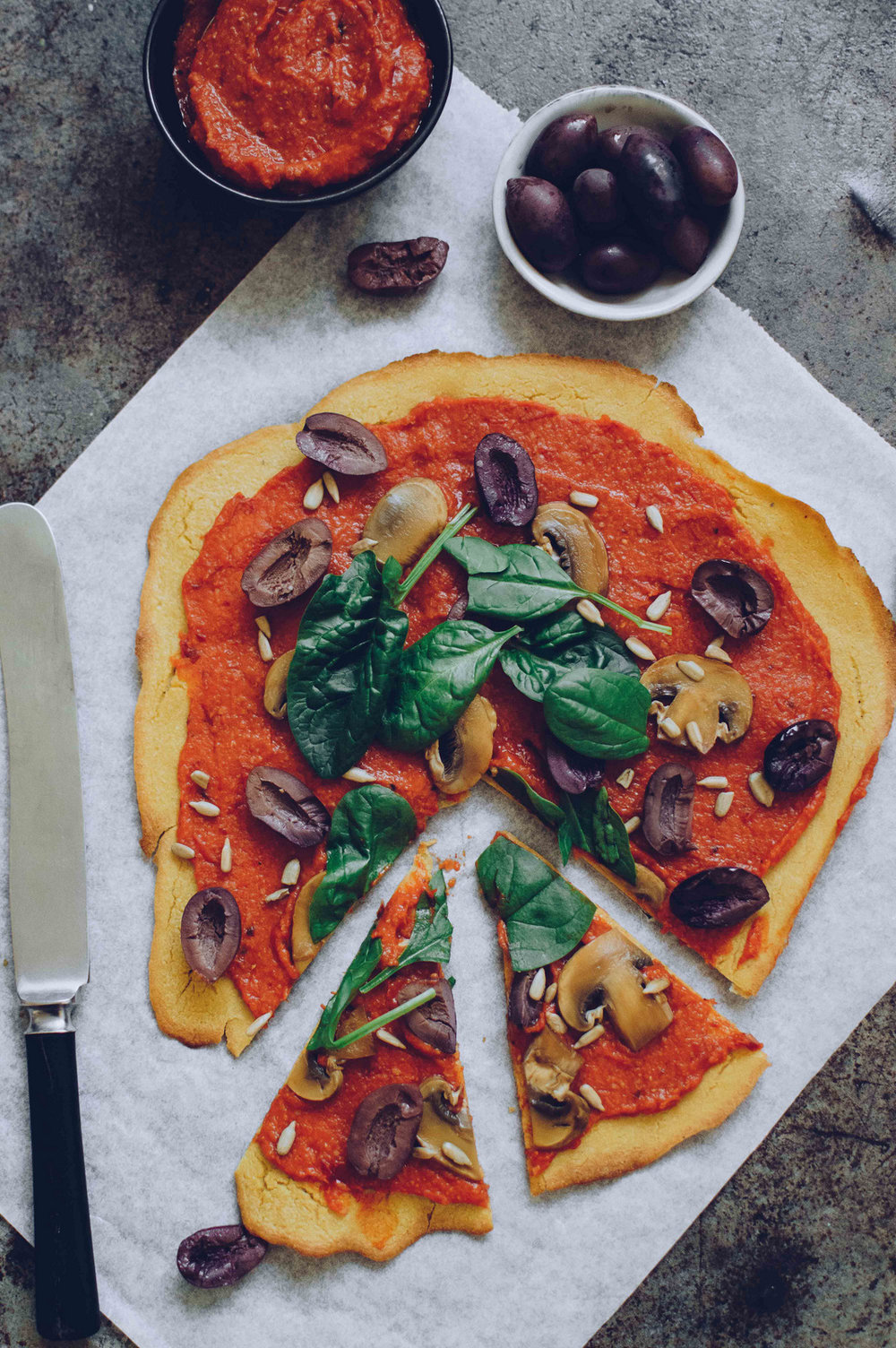 Socca Pizza with bell pepper spread and tahini mushrooms | The Nordic Kitchen