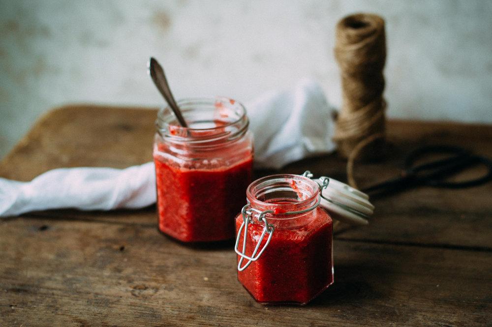 Yogurt with strawberry chia jam and granola