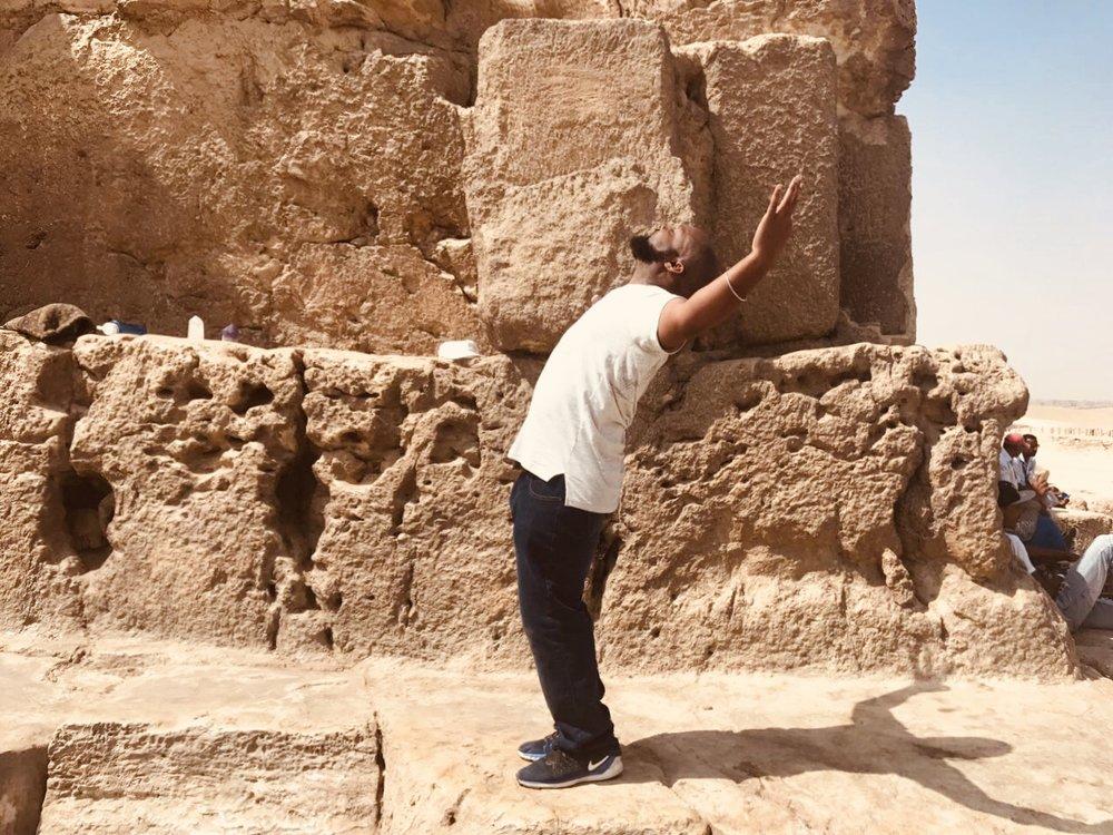 Tony at Great Pyramids in Cairo