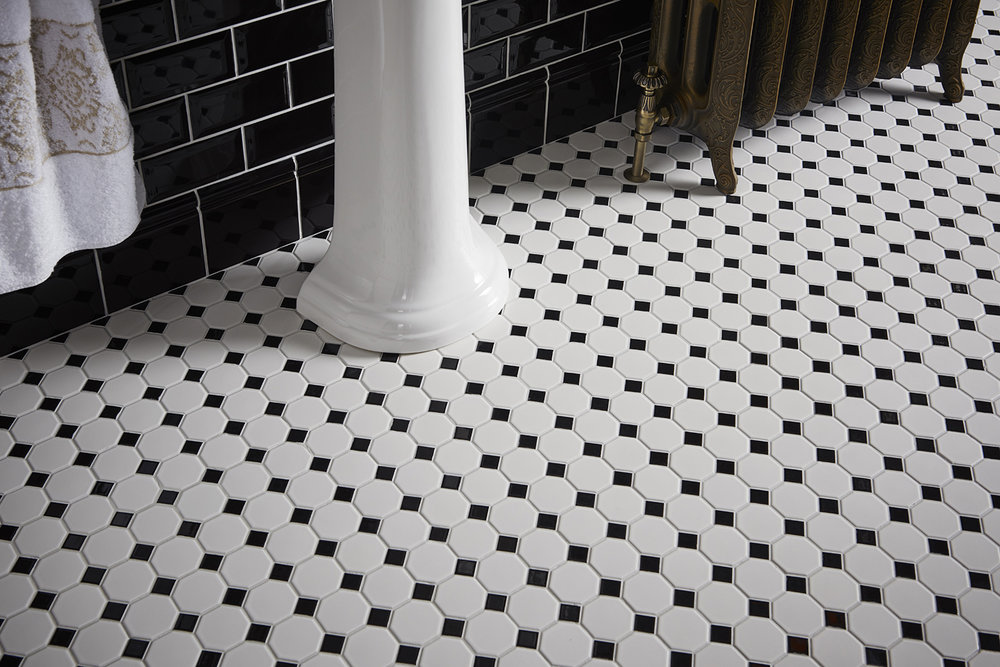 Octagons and Jet Black Dot Floor Mosaics