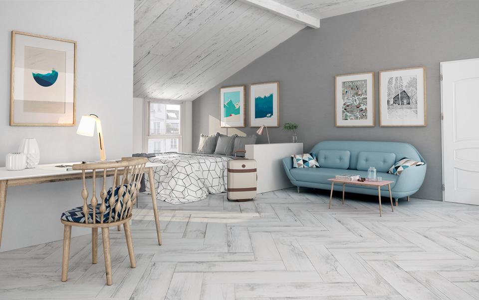 Norway White Herringbone Porcelain Floor Tiles