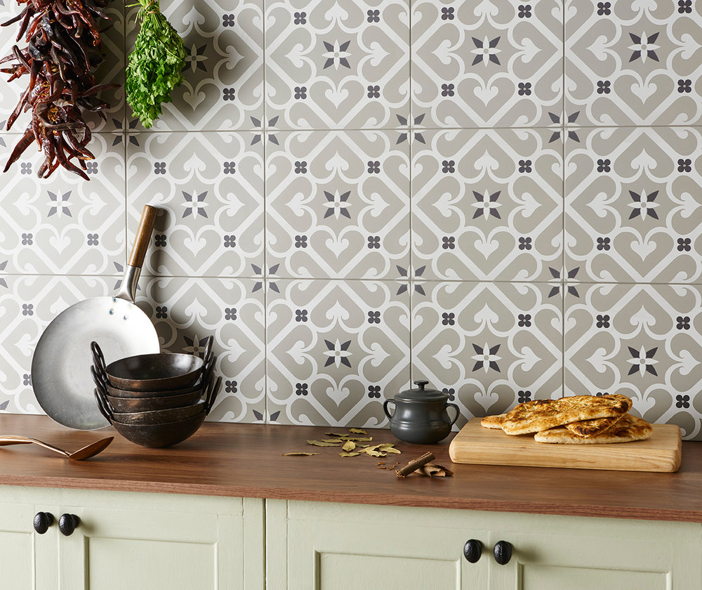 Odyssey Grande Epoque Grey and White on Grey Ceramic Tiles