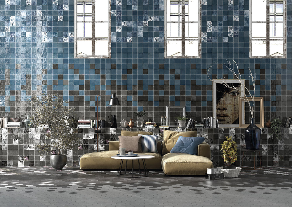 SOUK Blue & Black Ceramic Wall Tiles