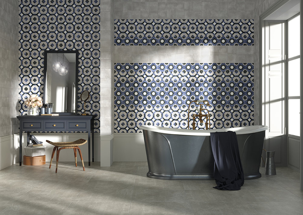 Fleur Grey, Laure & Janette Matt Patterned Porcelain Tiles