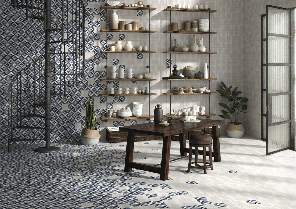 Fleur Grey & Geraldine Matt Patterned Porcelain Tiles