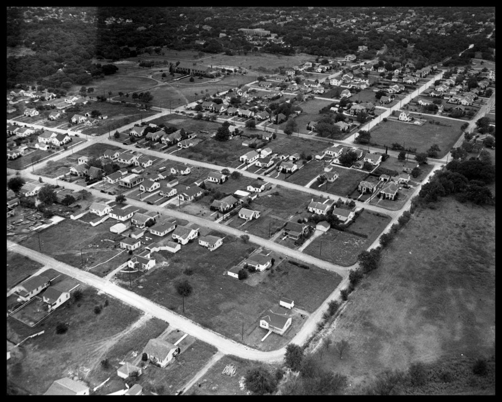 Aerial View of the Concordia Neighborhood: Werner, Hollywood, Robinson, East Ave. Concordia University, 1950, credit Austin History Center, Austin Public Library, Austin, Texas.