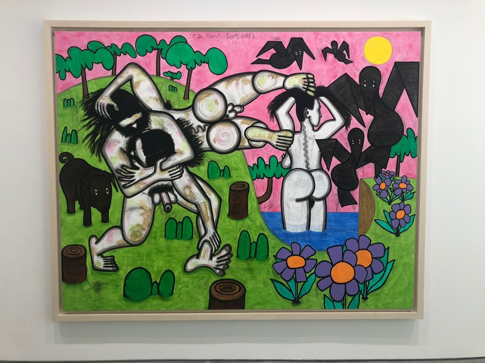Art by Carroll Dunham  Artist Carroll Dunham rose to prominence at a time (1980s) when painting re-entered the center of art world discussion. And yet, Dunham's painting never fit nearly into neither of the prominent movements that rose in tandem with his career. His paintings are too conceptual to make sense in the context of the neo-expressionism of Basquiat, Schnabel or Eric Fischl, and too expressive to be compared alongside the postmodernist paintings of Julia Wachtel, Christopher Wool or Walter Robinson. Dunham has always deftly balanced figuration and abstraction, surrealism, pop art, graffiti and cartooning and his aesthetic is so mutable that he has perhaps reinvented himself as art history has moved forward better than any of his contemporaries.  Despite a career primarily (though certainly not only) obsessed with the rendering of the female form, Dunham looked at the male figure in his most recent solo exhibition at Gladstone Gallery. Playing with visual tropes related to the mythological depiction of wrestling. Dunham skillfully manipulated a similar set of images. In the paintings, wrestling appears playful, and at other times sexual, and occasionally full of brutality and violence. The power of body language is explicit here. Dunham implies how much emotion, whether desirous or vengeful, is betrayed by our bodies.