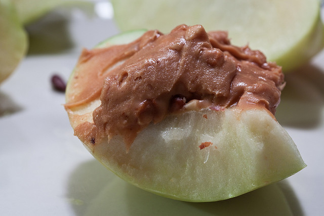 Whole wheat crackers, peanut or almond butter, apple slices