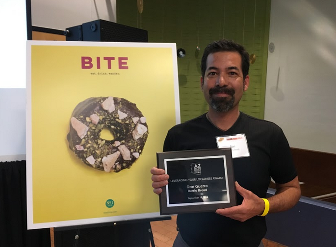 Don Guerra of Barrio Bread wins the Leveraging Your Localness Award