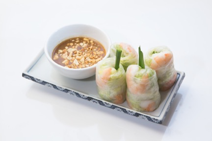 Shrimp Summer Rolls - Shrimp, bean sprouts, lettuce, mint leaves, and vermicelli wrapped in rice paper served with peanut sauce. (Menu Item 2)