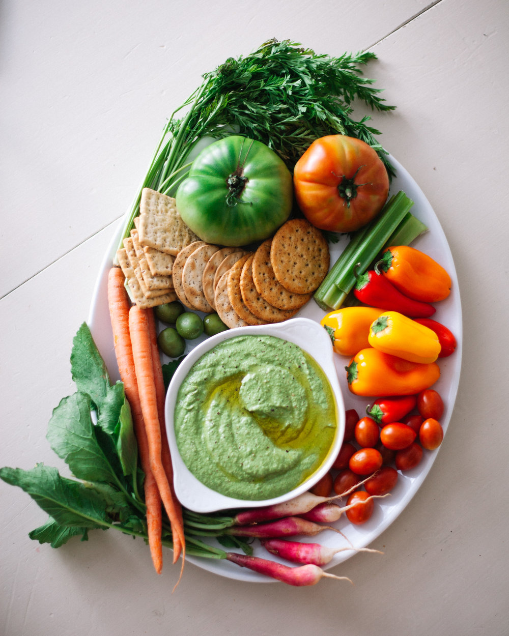 Autumn Crudité Platter with Pesto Ricotta Dip