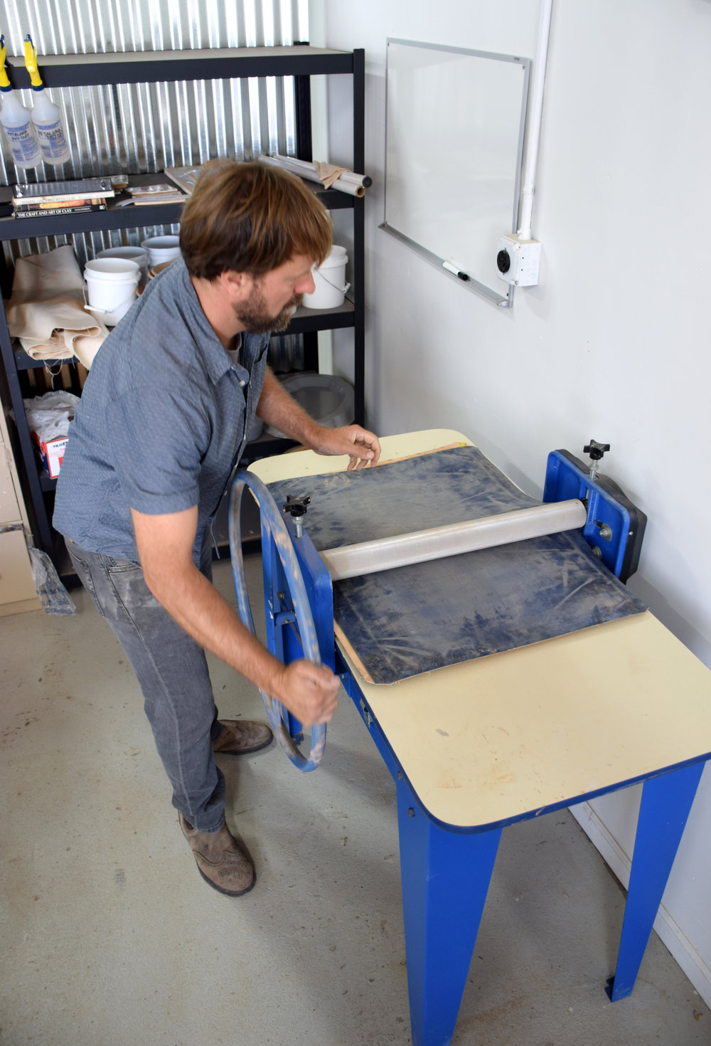 Using the slab roller in the community studio