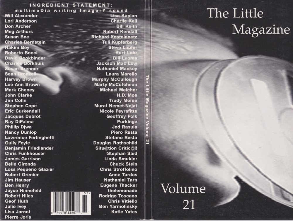 "When I was a doctoral student at the University of Albany, I had the good fortune of being Poetry Editor for   Volume 16   of  The    Little Magazine     and Co-Editor with   Jan Ramjerdi   for   Volume 17 .  But the real exciting time for the magazine was when it went digital under the editorship of   Chris Funkhouser  ,   Belle Gironda   and Ben Henry. I am still hunting for online versions.  No luck. Our early experiments with hypertext are lost?   I particularly mourn the loss of the online   The Little Magazine Volume 21.3 , MAPPING , which included my piece ""Door Where Carol Merrill is Still Standing."" Luckily, scholar Karin Sanders wrote about the piece while it was still online. See    Bodies in the Bog and the Archaeological Imagination  .  ""If you click on Anderson Moseman's cyber poem door, you can read about the obedient Carol Merrill; known by a generation of Americans as the quintessentially smiling but mute TV game hostess whose gesture toward the doors (in Moseman's optic) become a spectacle of sacrifice, not of the bog girl but of the participating 'victim' in the greed play of consumerism. If you choose the wrong door and win a goat instead of a car you are, so to speak, sacrificed to the laughter of the audience and viewers. That's the name of the game. In that game, the bog girl challenges the slick host, Monty Hall, as the poem insinuates a carnality of sacrifice different than one to which she was submitted two thousand years ago."" Luckily the text of the poem survives in my collection  PERSONA .  Thanks to Chris Funkhouser, 150 video and audio files from   Volume 21   of have been salvaged. Funkhouser talks about how co-editor/producers Belle Gironda and Ben Henry made of this CD-ROM in an article on    Jacket2  :  ""The CD-ROM publication,   The Little Magazine, Volume 21   (1995), featuring 77 artists, contains 127 audio (.wav) files, many which I recorded; an entire section of the project was devoted to vocal readings, including recordings of John Clarke, Harvey Brown, Robert Grenier, Pierre Joris, Jed Rasula, and Chuck Stein. Unfortunately, the disc does not function on today's 64 bit Windows systems, which means it is unplayable as originally designed.""  Recordings of my poems in  Volume 21 , ""Woman Eating a Grape"" and ""Woman Eating a Cyst,"" can be accessed in the drop down menu  here  at Funkhouser's We Press. Gone are the visuals: Angelina Marino's painting ""Woman Eating a Grape"" and the ultrasound of my right breast, but having audio is a gift. Thank you Chris Funkhouser."