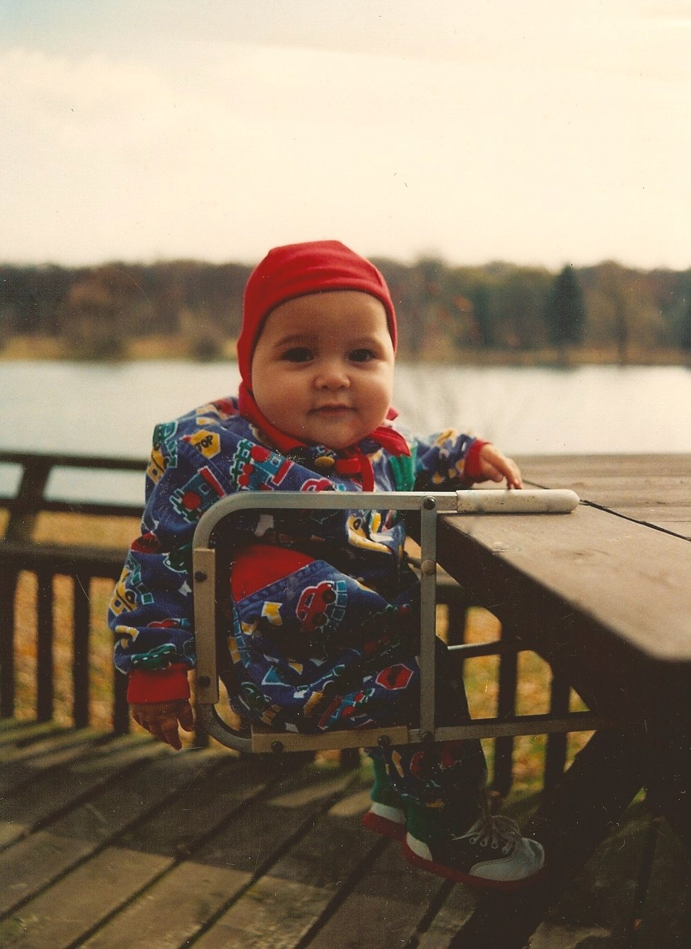 & Max . also size Medium . but at 6m He took on a Medium early because of his impressive wide cheeks & head. (sigh) in a red organic earhart pilot here on the windy Fox River.
