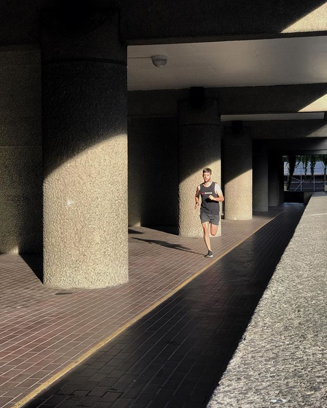 Adding some adventure to a solo run, on The Skywalk at The Barbican.