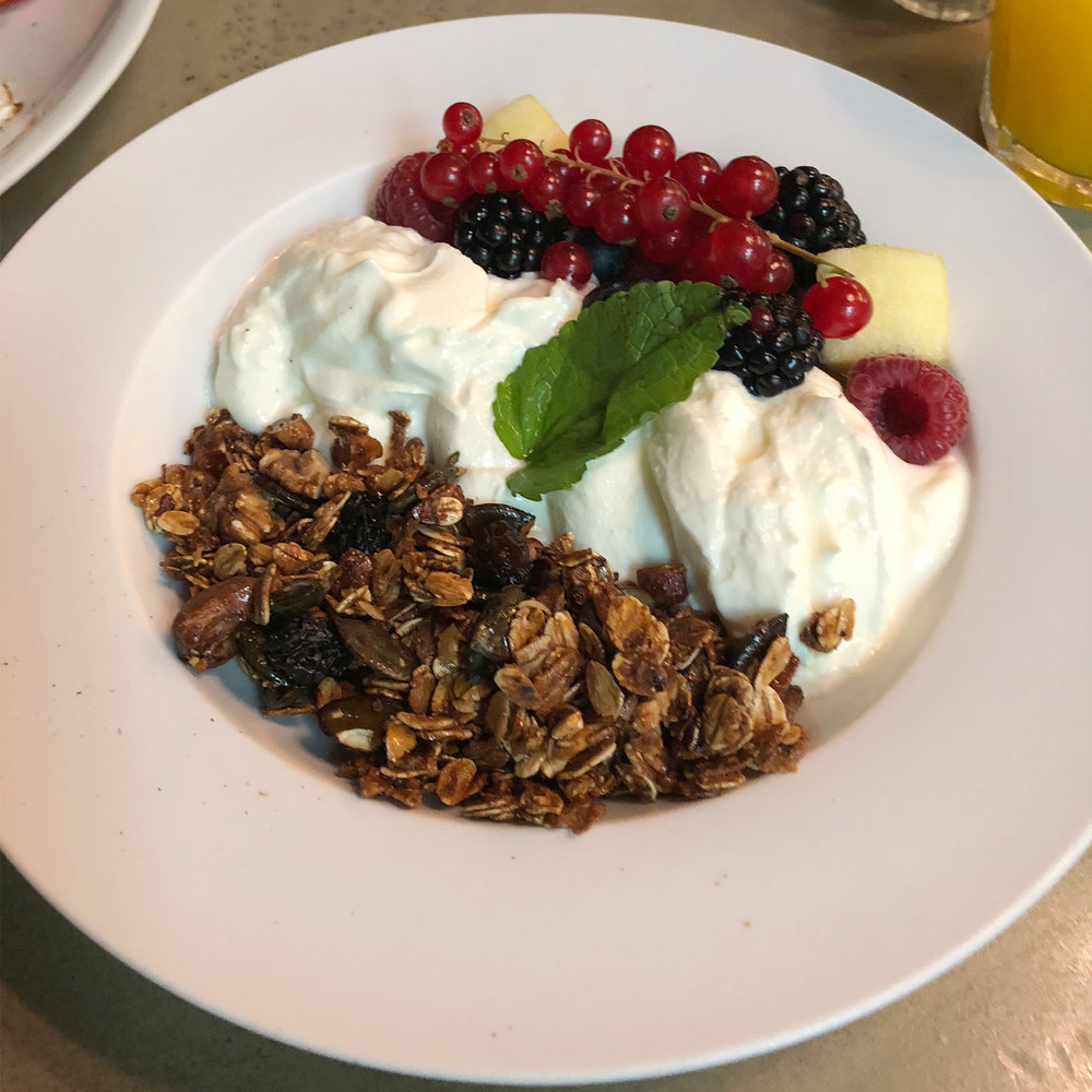 Fresh red currant and honey coated granola