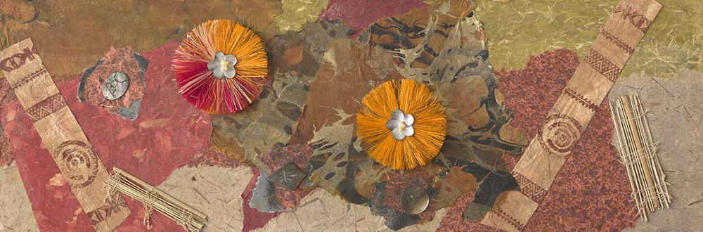Collage with Orange Raffia