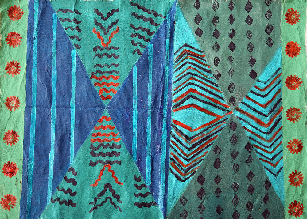 Tapa Cloth with Blue and Green