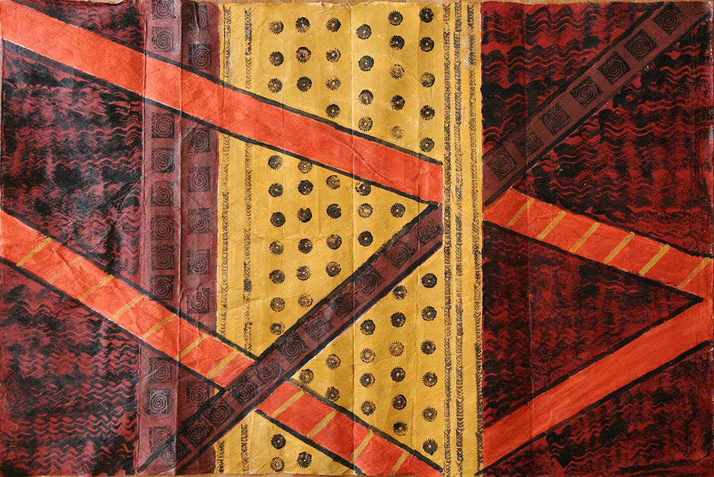 Tapa Cloth with Orange Stripes