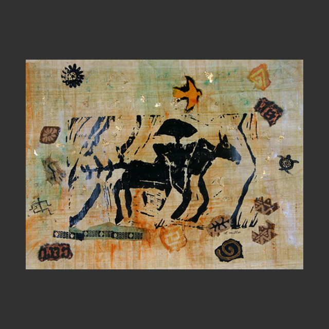 Horse And Rider Petroglyph Collage