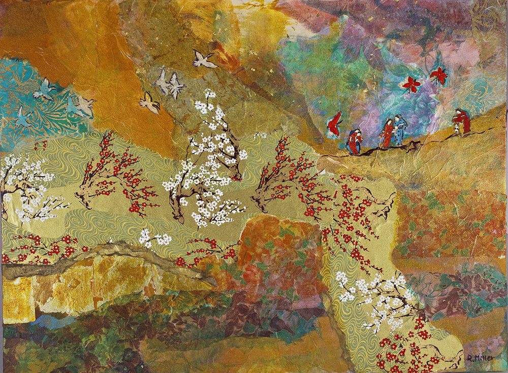 Figures with Cherry Blossoms (Collage)