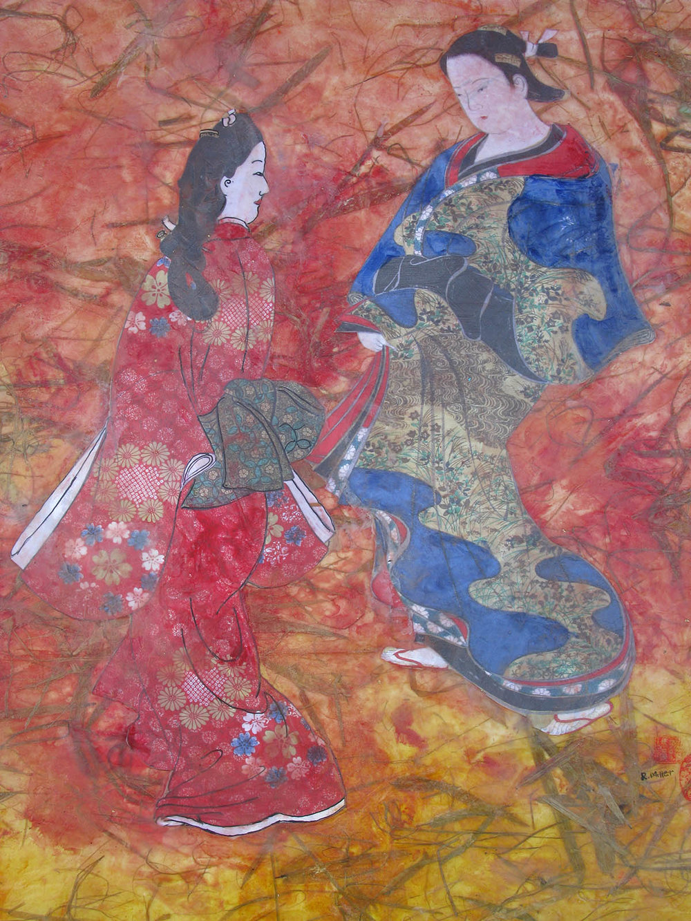 Japanese Maidens with Bamboo Leaves