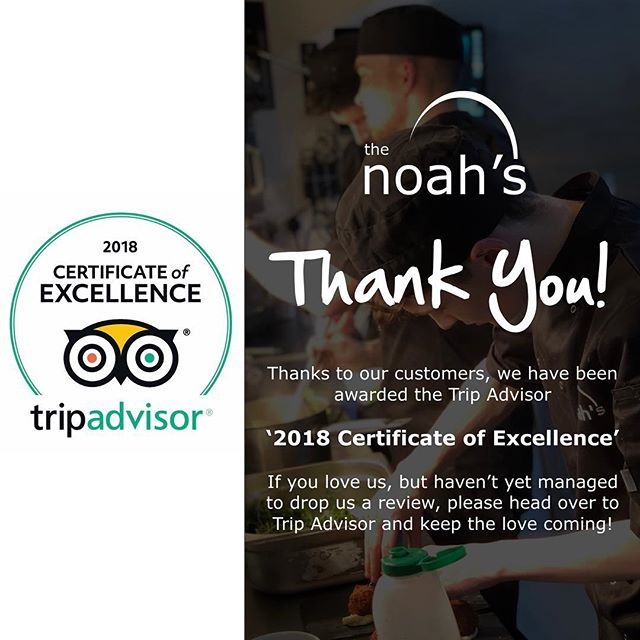 So pleased to have received the 'Certificate Of Excellence' for 2018 from Trip Advisor within our first 3 months of operation. Thank You from all the team! #noahsbaruk #TripAdvisor #Review #StokeOnTrent
