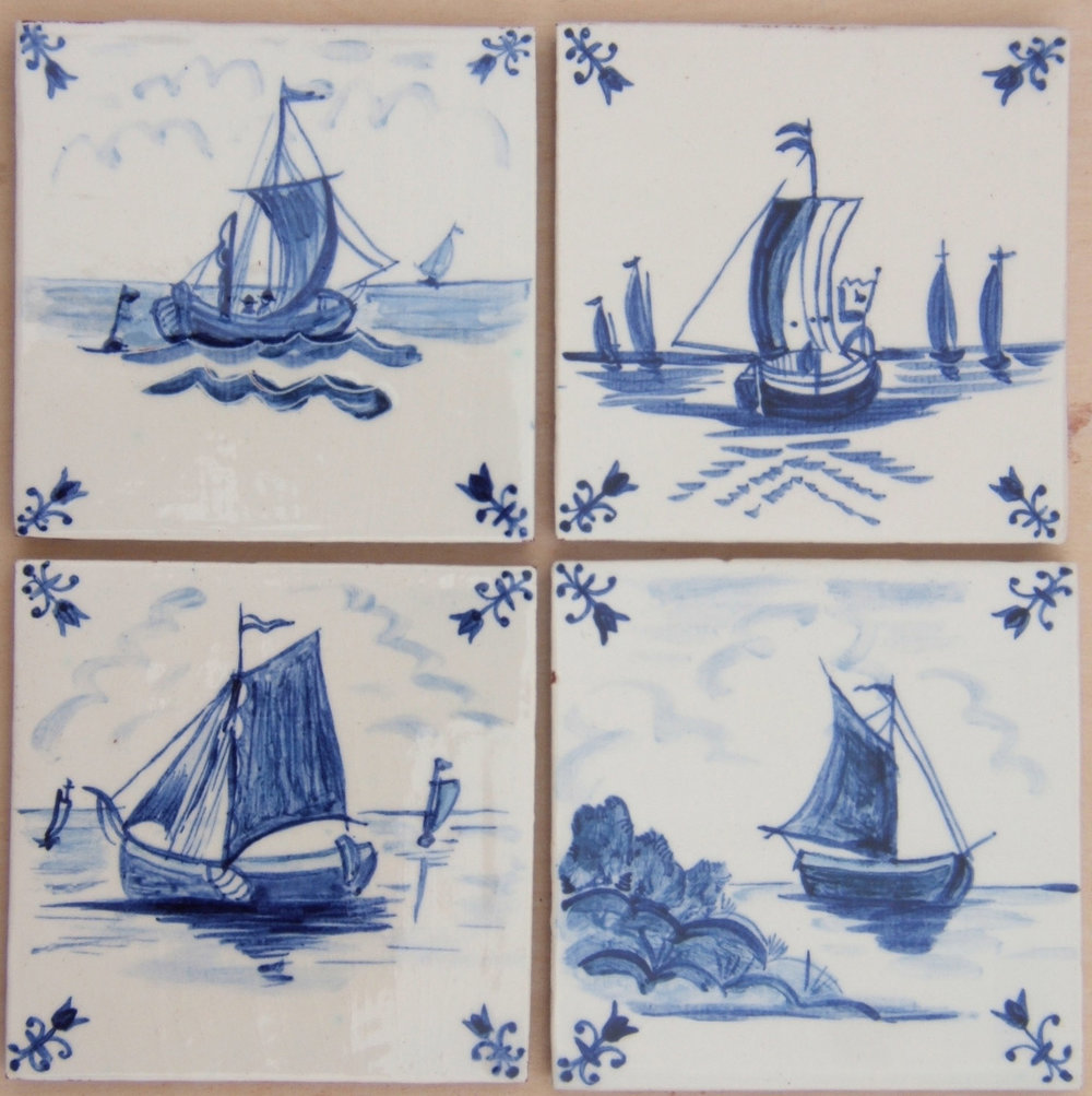 "Boats - A range of sailing barges , early Delft designs adapted by Monica, with our ""tulip"" Delft style corners."