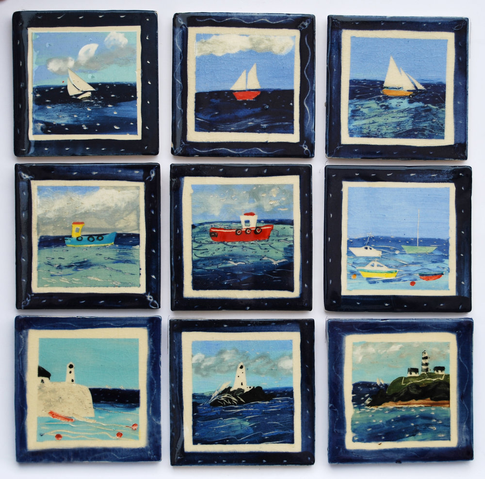 Sailing boats and fishing boats decors. - Bright and breezy, you can smell the salt and feel the spray. Nine designs.Row 1 – Sailing Boat 1, 2 & 3Row 2 – Fishing Boat 1, 2 & 3Row 3 – Pier Lighthouse, Island Lighthouse, Irish LighhouseYou can order these decors in 4″/100mm size. They are suitable for bathrooms and showers.
