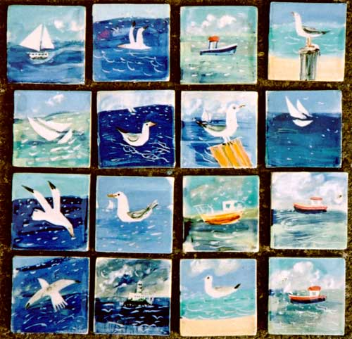 Boats and seagulls - An array of 2″ boats and gulls - always want a piece of the action too