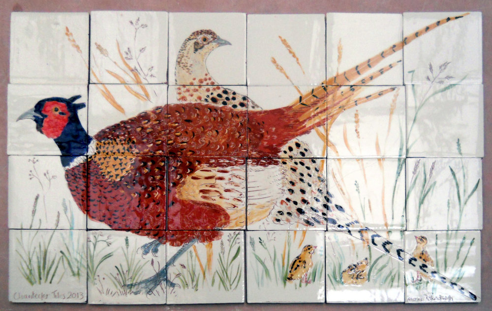 A cock pheasant and his hen - Each mural is individually designed to fit the space, and is signed and dated.