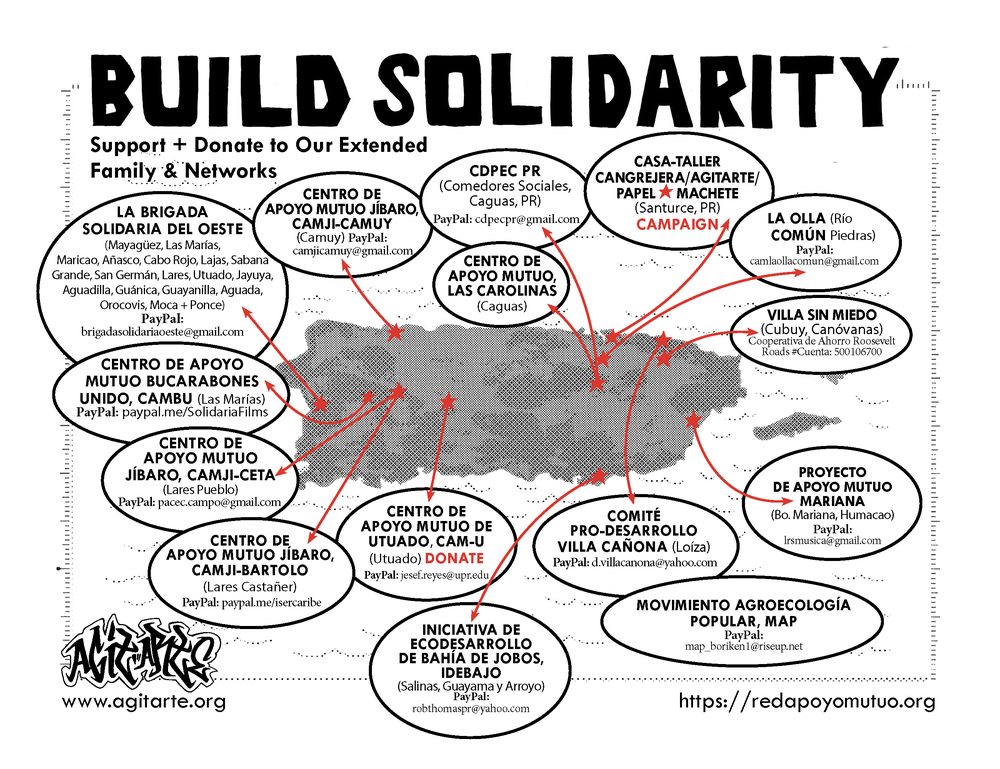 Solidarity - Faced with the collapse of the State and the abuses of FEMA in post-Maria Puerto Rico, people have organized themselves in self-managed spaces around the Island known as Centros de Apoyo Mutuo, CAM (Mutual Support Centers). Click the button to view map.
