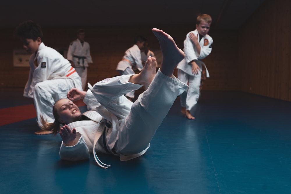Hva er judo? - Judo er en kampsport uten spark og slag. Vi bruker moment og balanse til å felle motstandere og lærer kontrollteknikker på bakken. Judo er svært utbredt internasjonalt og er en olympisk sport.